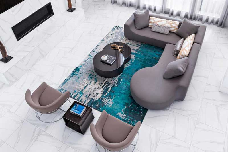 Modern Living Room with Vibrant Aqua Rug