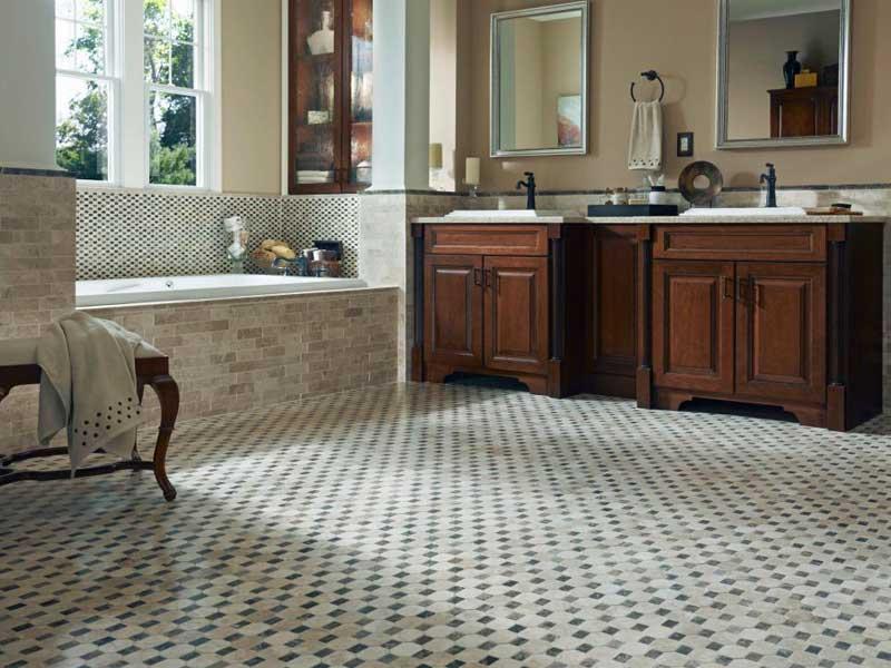 Bathroom with Mosaic Tile Floor