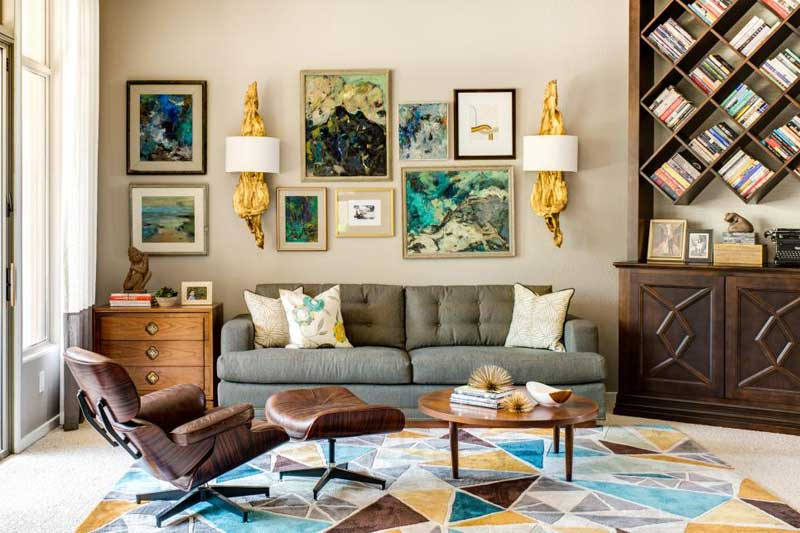 Multicolored Living Room With Gallery Wall