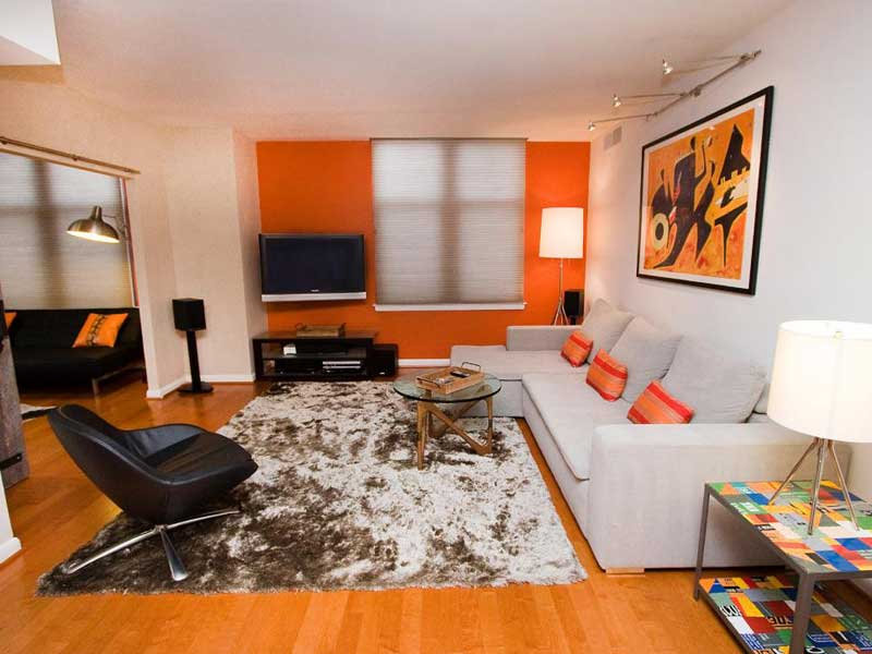 Orange and White Living Room