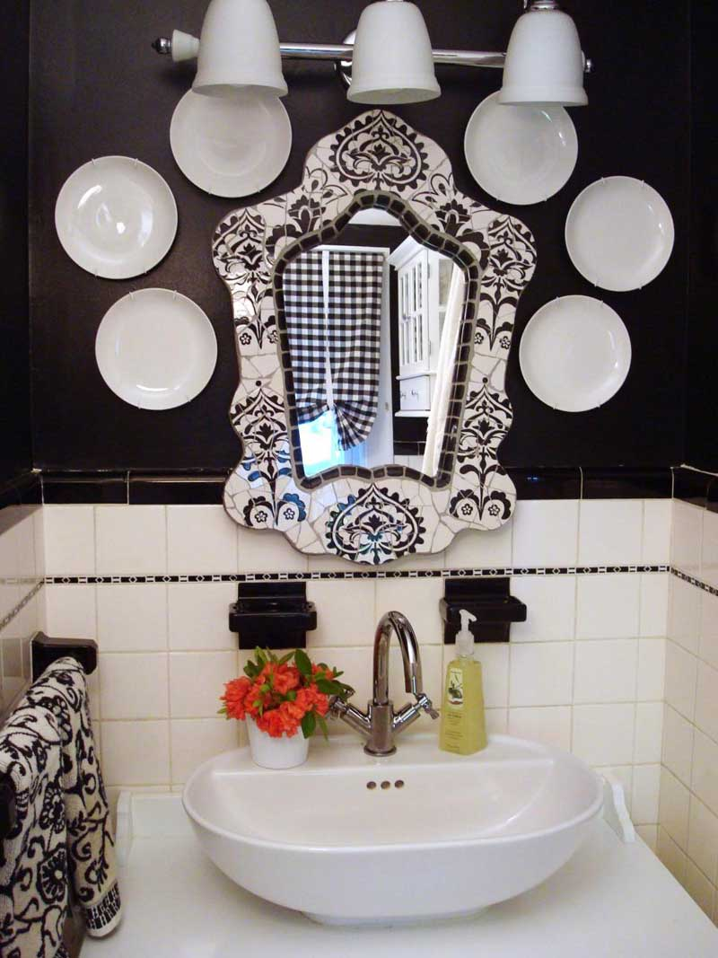 Ornate Black and White Mirror