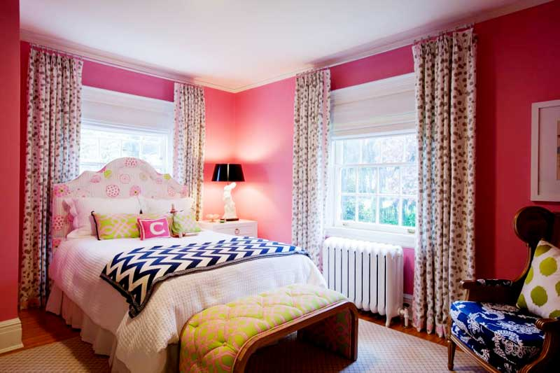 Pink Bedroom With Polka Dot Curtains