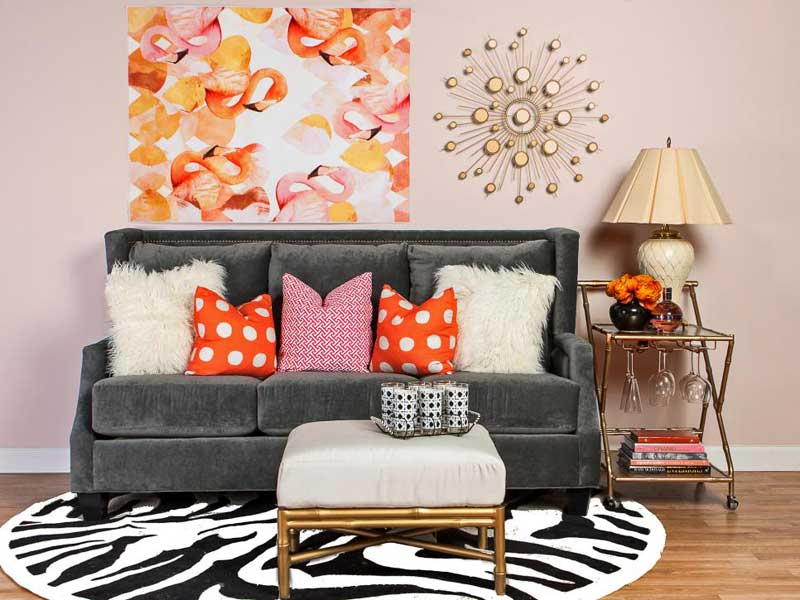 Pink Living Room With Gray Sofa