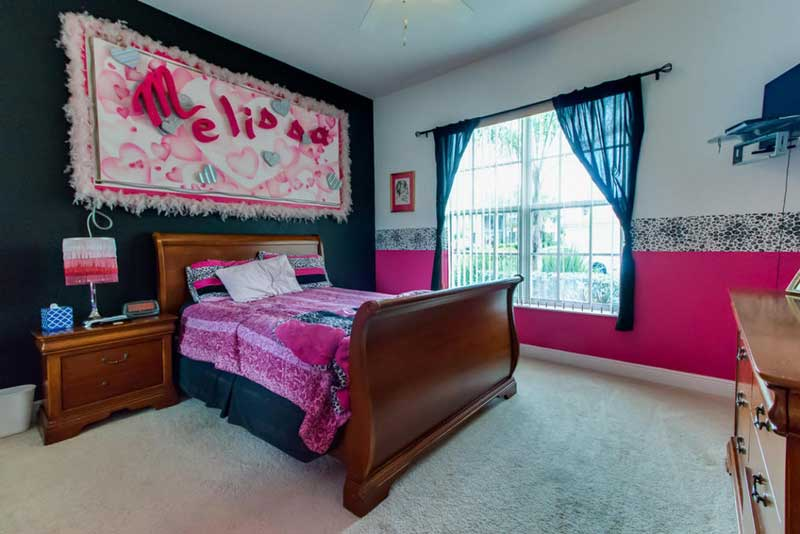 Pink and Black Teenage Girl Bedroom