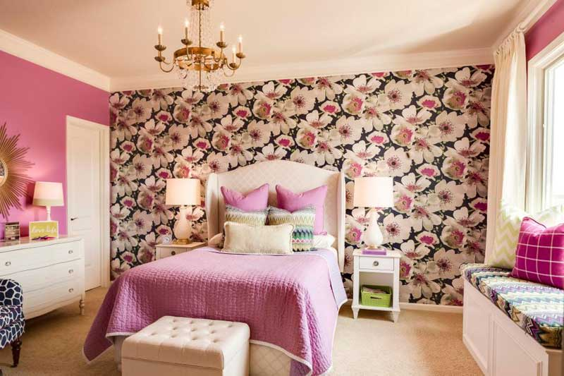 Purple Teenage Girl Bedroom With Floral Accent Wall
