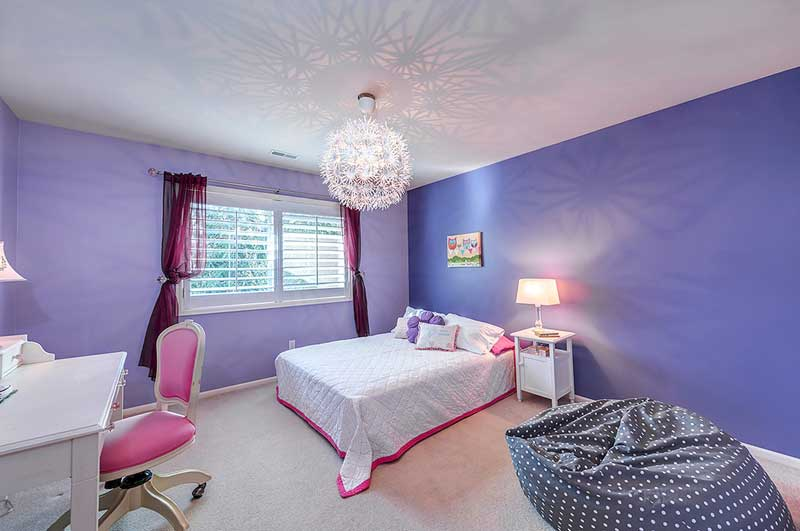 Purple Teenage Girl Bedroom with Chandelier
