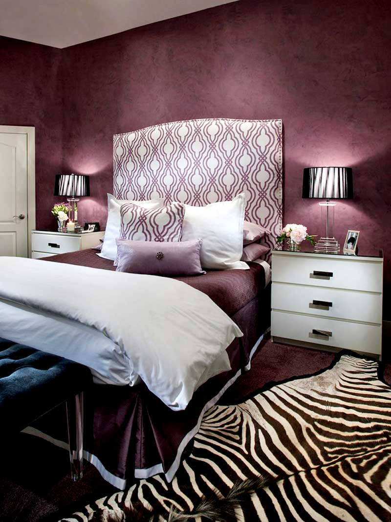 Purple Bedroom with Zebra Print Rug