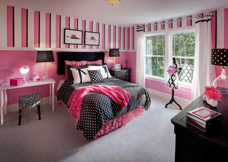 Teenage Girl Bedroom With Pink Striped Wall