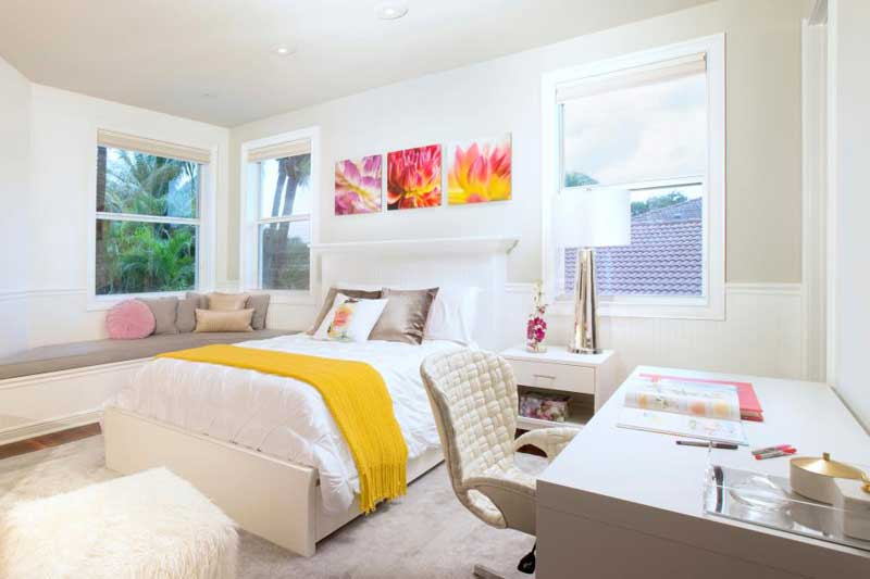 White Teenage Girl Bedroom With Yellow Throw
