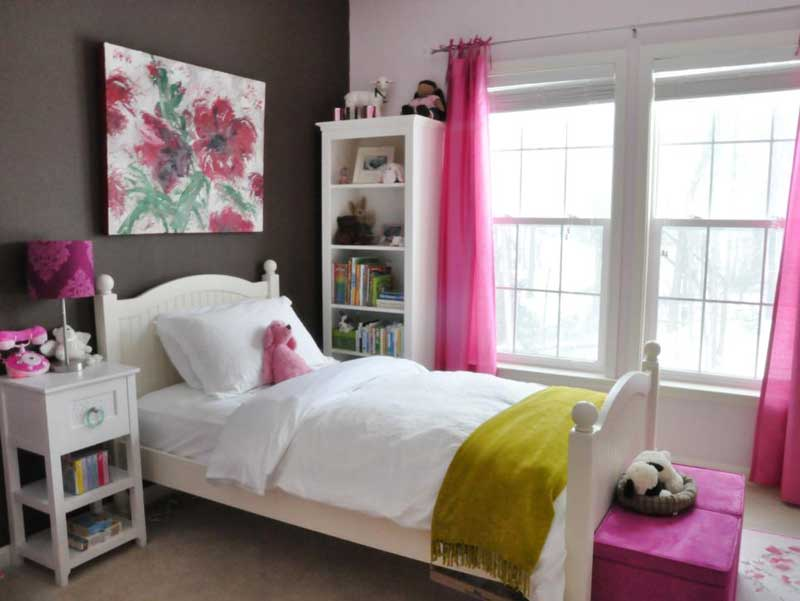 White Teenage Girl Bedroom with Pink Color Scheme