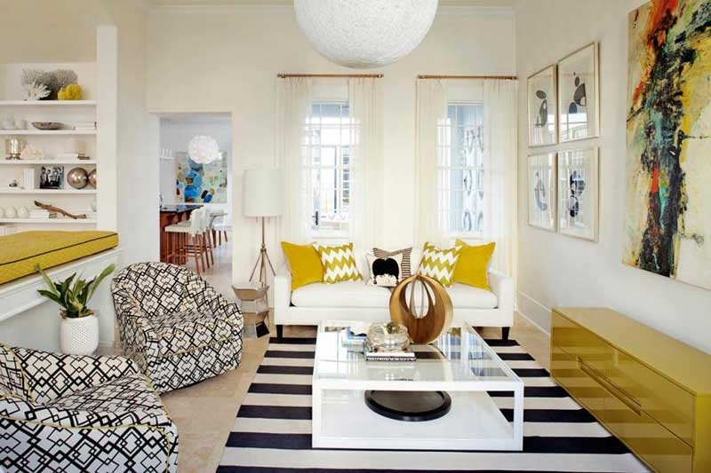 White Living Room With Bold Geometric Patterns