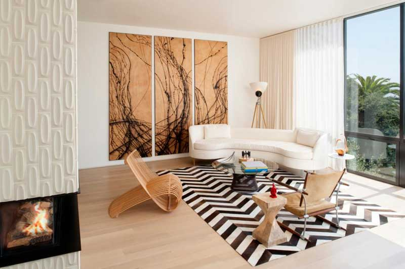 White Living Room With Wood Accent Wall
