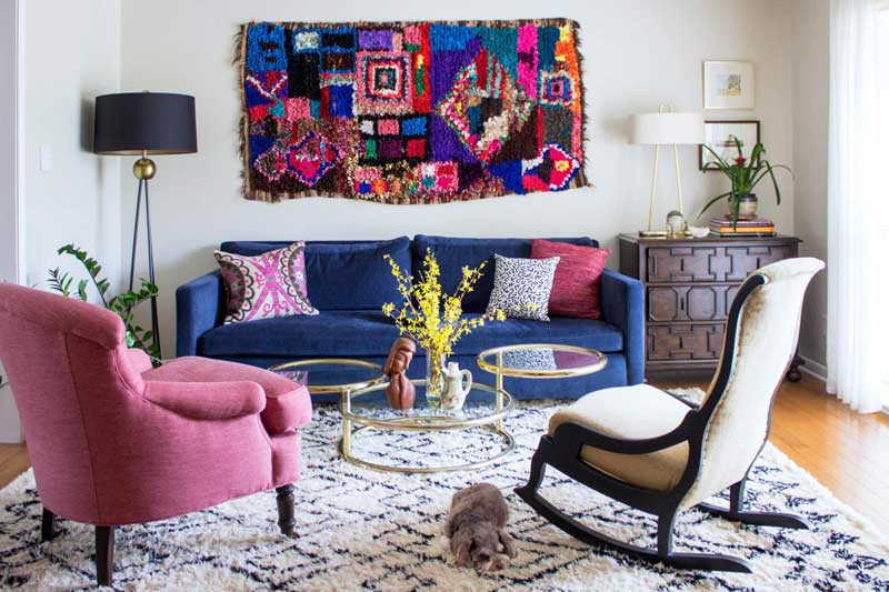 White Living Room with Bohemian Art