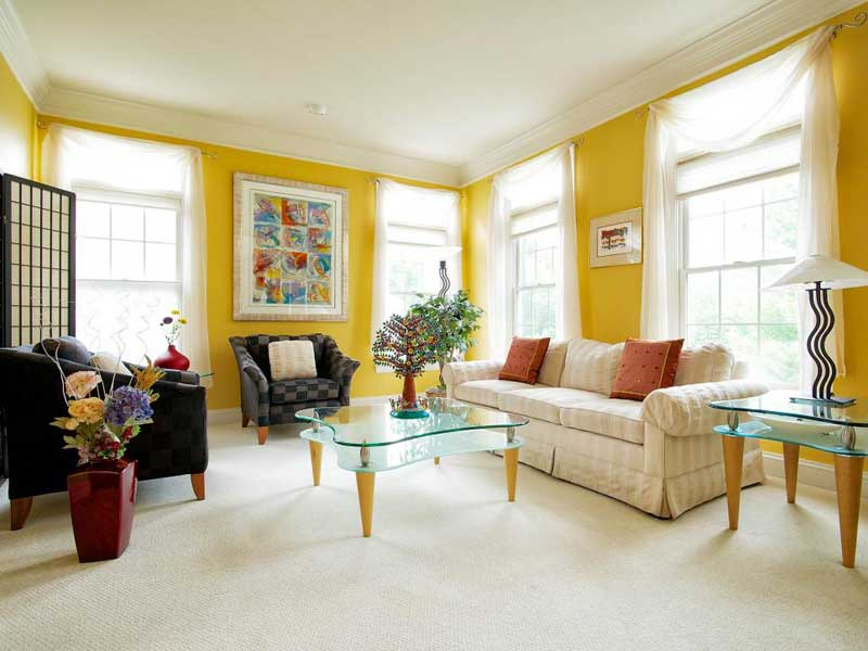 Yellow Living Room With Beige Sofa