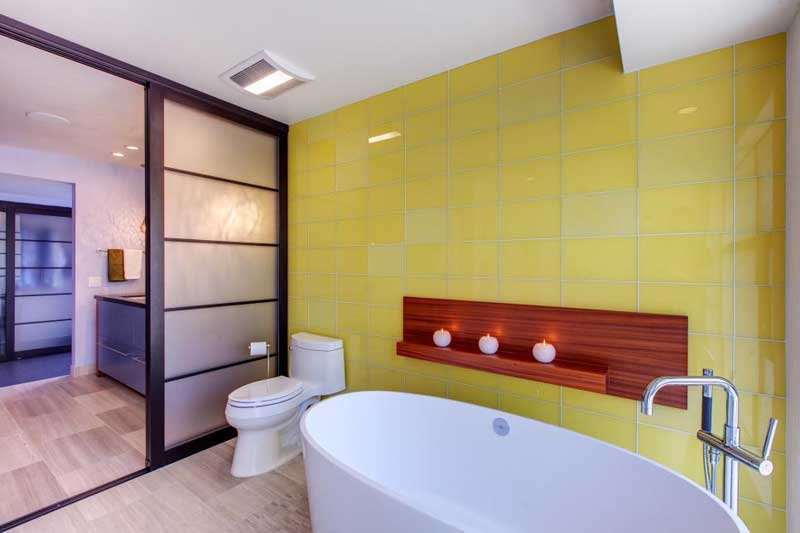 Bathroom with Yellow Tile Wall