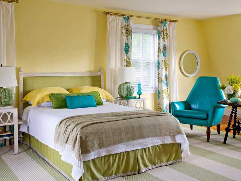 Yellow and Turquoise Bedroom color schemes