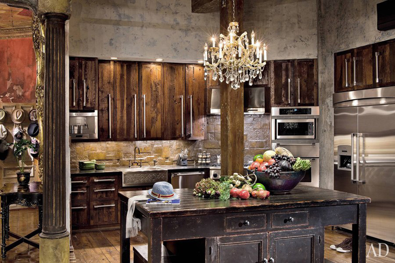 Kitchen Island with 7 Light Chandelier