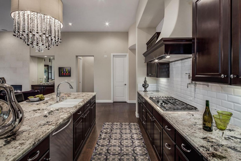 Kitchen Island with 9 Light Crystal Chandelier