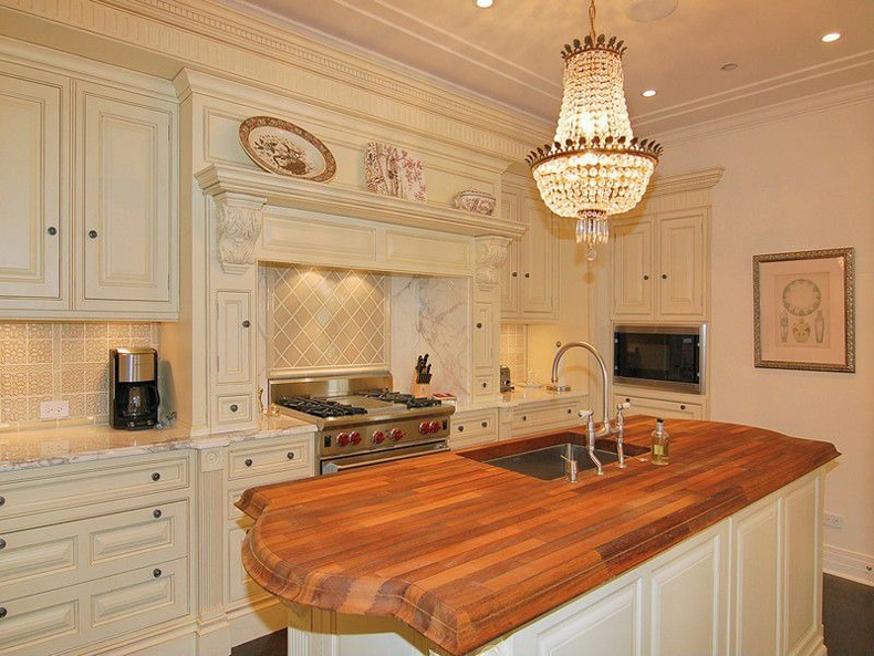 Kitchen Island with Beaded Chandelier Lighting