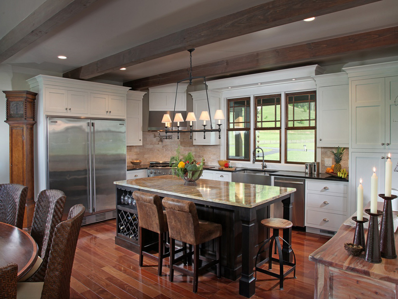Kitchen Island with Classic Linear Chandelier Lighting