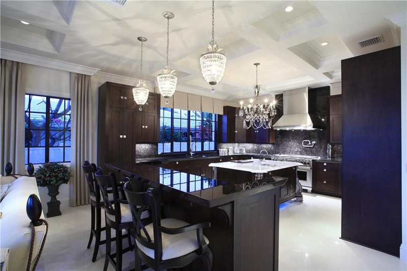 Kitchen Island with Crystal Chandelier Lighting