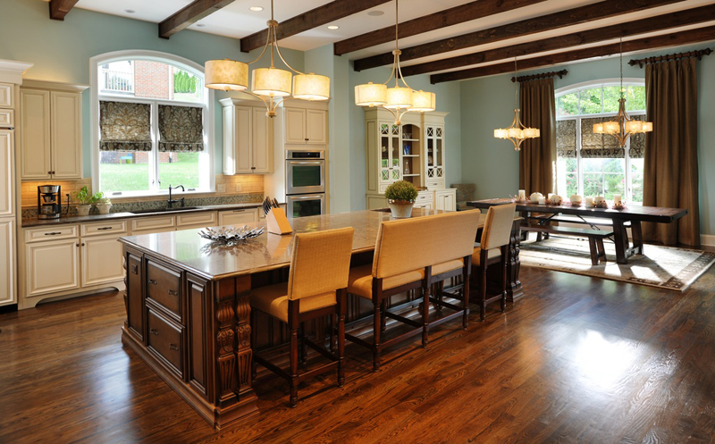 Kitchen Island with Drum Pendant Chandelier