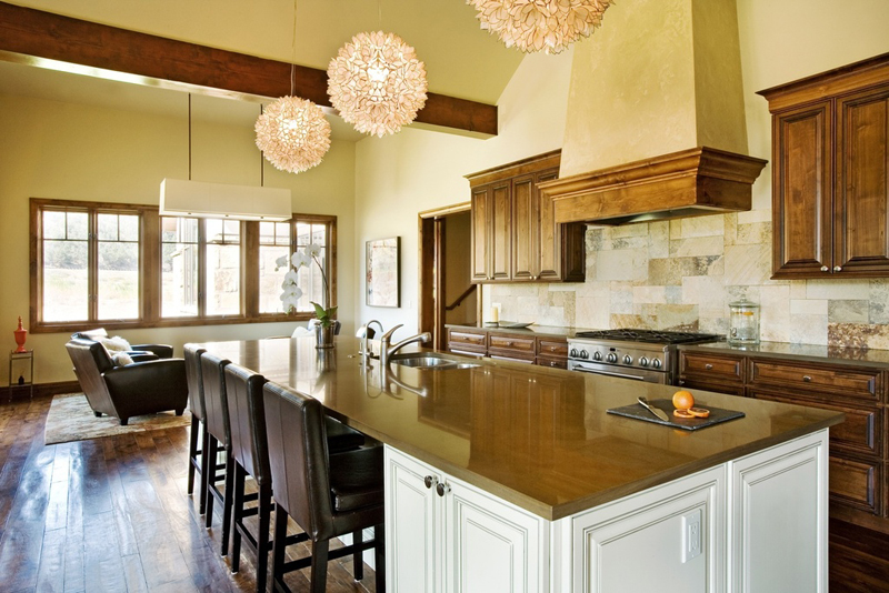 Kitchen Island with Lotus Flower Chandelier
