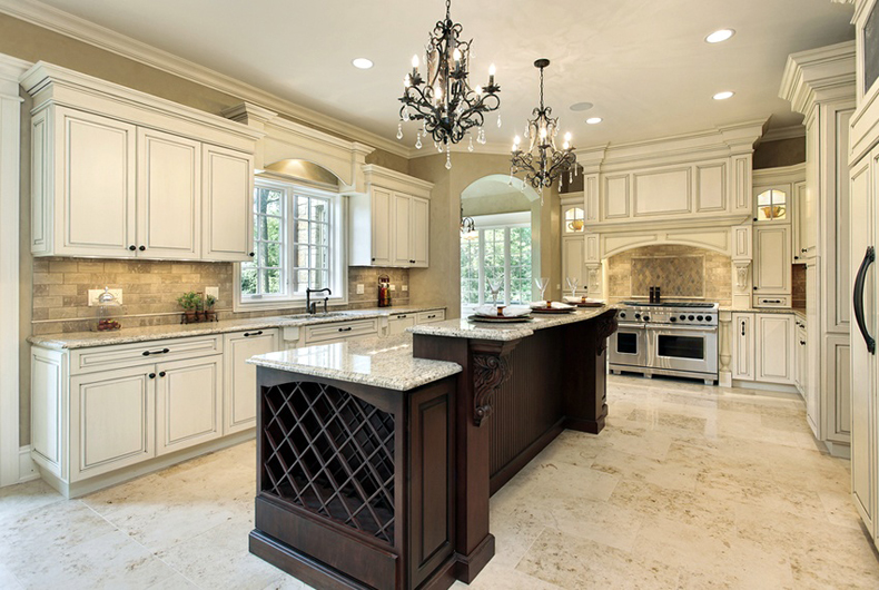 Kitchen Island with Mini Chandelier