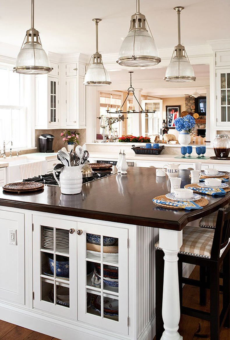 Kitchen Island with Modern Mini Pendant Light