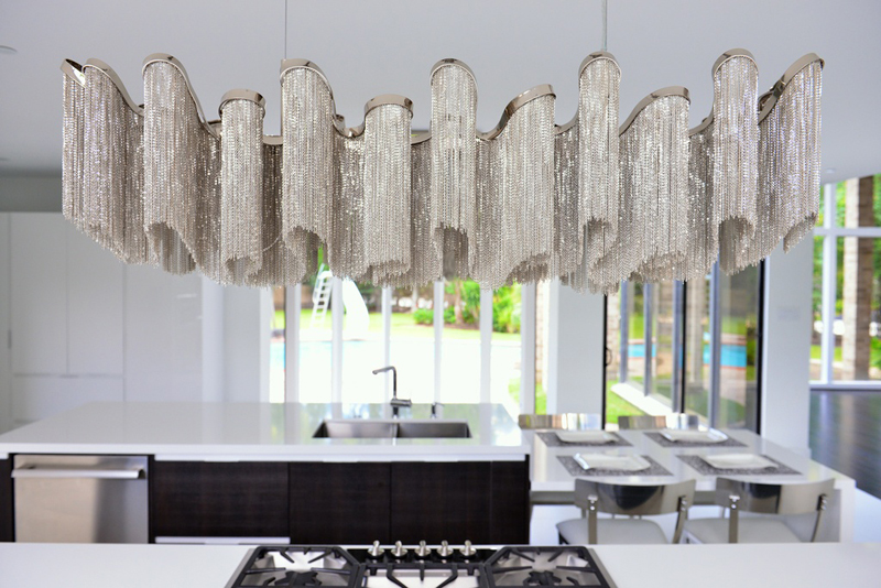 Kitchen Island with Modern Wave Crystal Chandelier