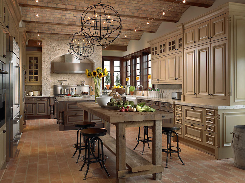 Kitchen Island with Orb Chandelier Lighting