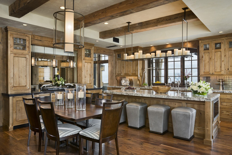Kitchen Island with Rectangular Chandelier