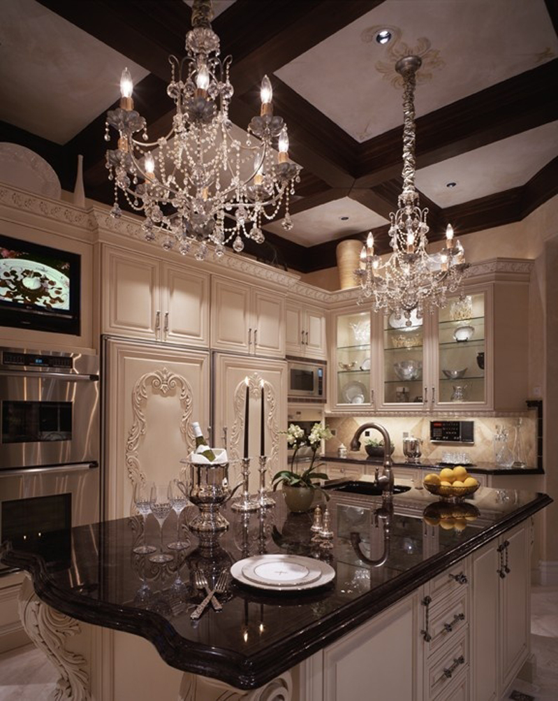 Kitchen Island with Silver Chandelier