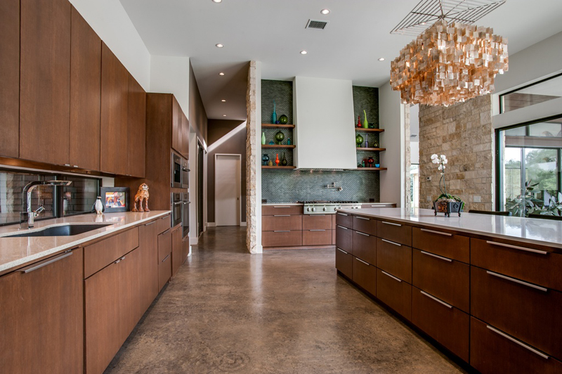 Kitchen Island with Square Capiz Chandelier