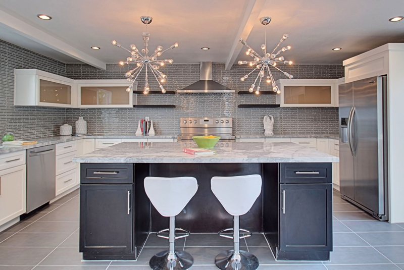 Kitchen Island with Supernova Chandelier