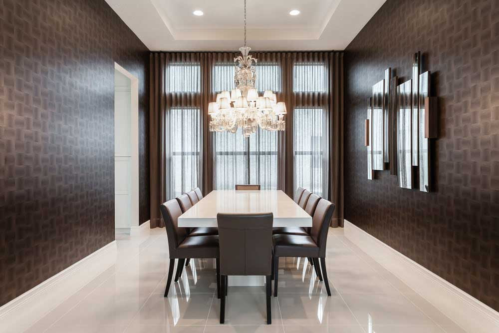modern dining room with crystal chandelier
