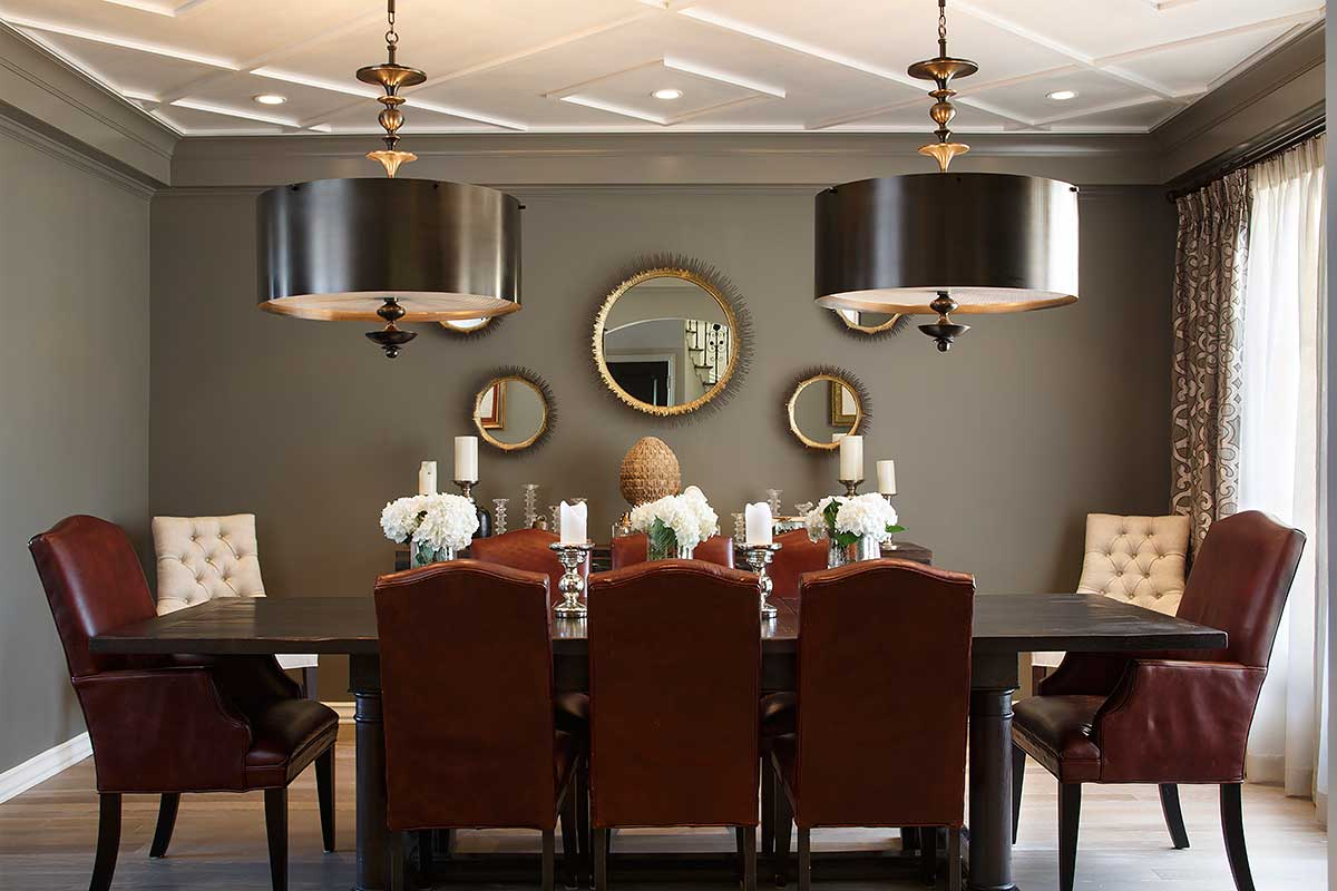 traditional dining room with drum pendant light fixture for low ceilings