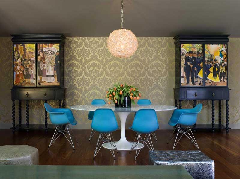 dining room with capiz round hanging fixture