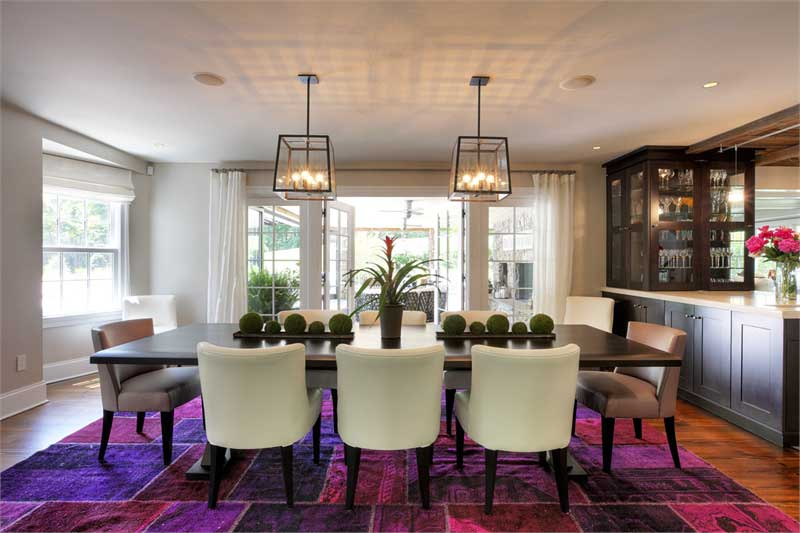 formal dining room with box pendant lights