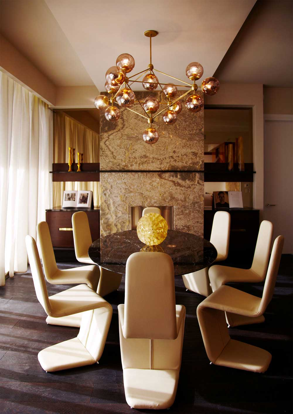 modern dining room with pendant hanging chandeliers