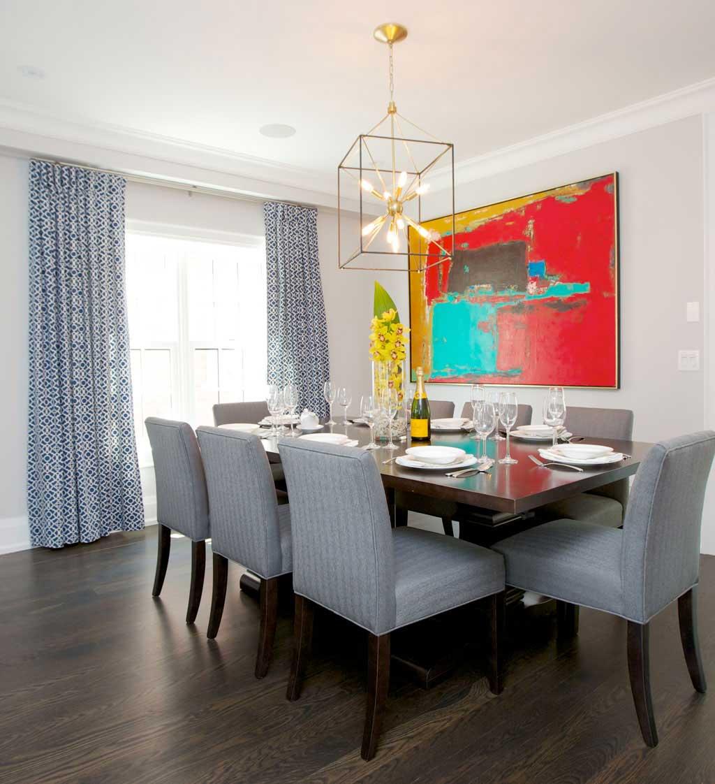 dining room with box sputnik chandelier