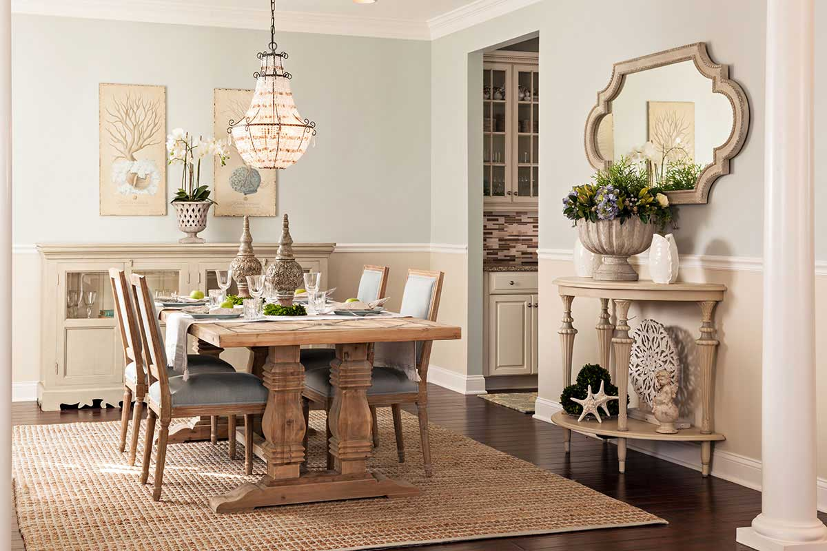 rustic dining room with crystal chandelier