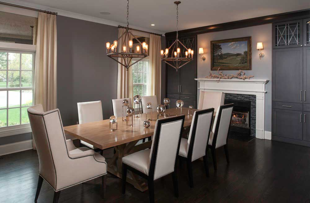 dining room with industrial style chandelier