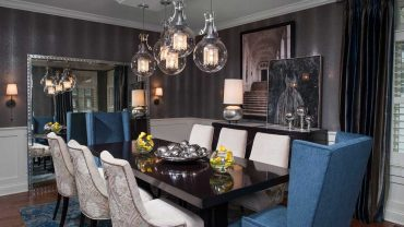 modern dining room with clear glass globe pendant light