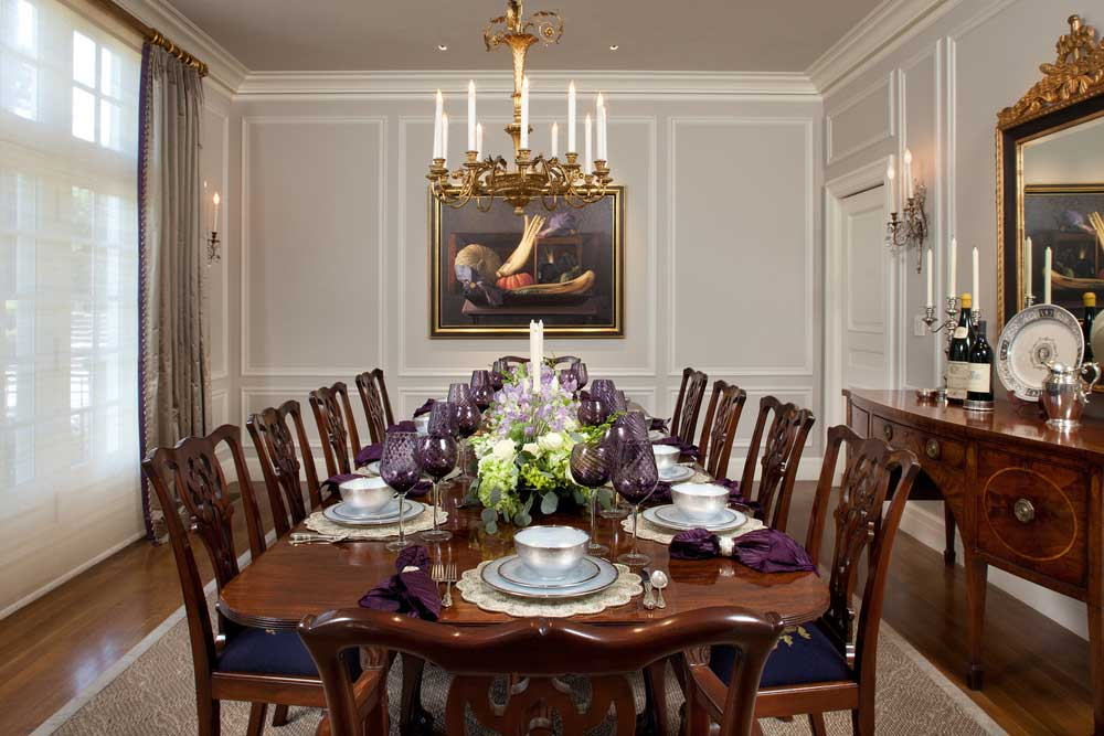 traditional dining room with gold candle chandelier
