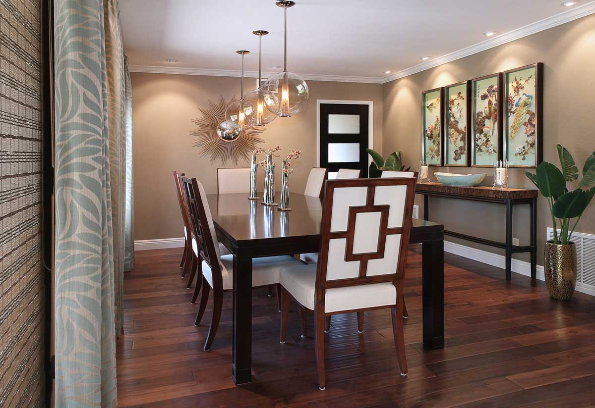 dining room with bubble glass art pendant lighting