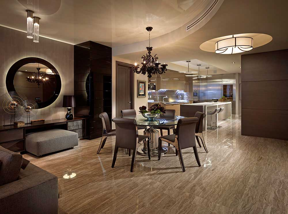contemporary dining room with black chandeliers