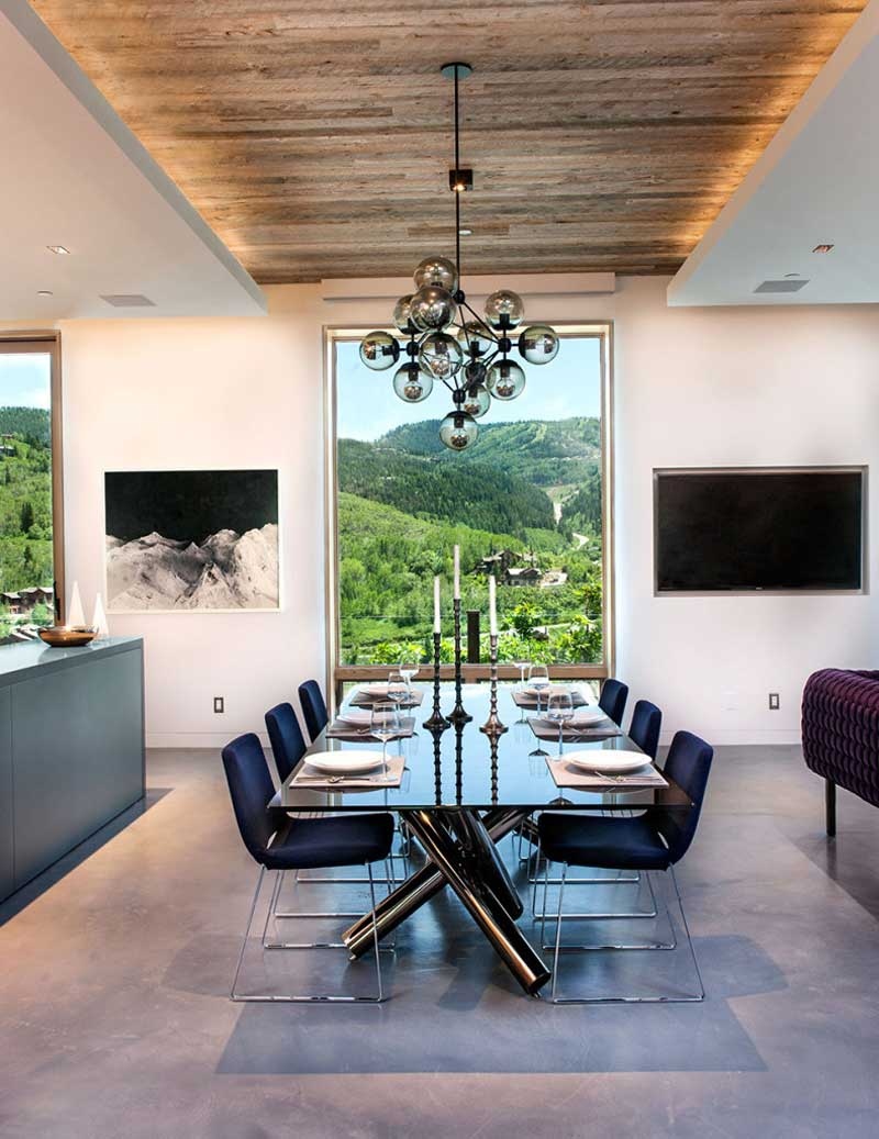 dining room with bubble ball pendant light