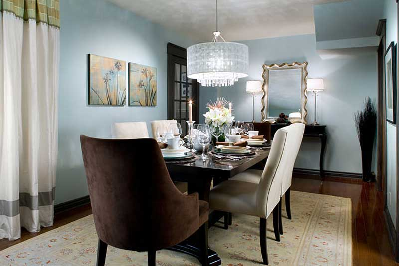 turquoise dining room with glass drum shade chandelier