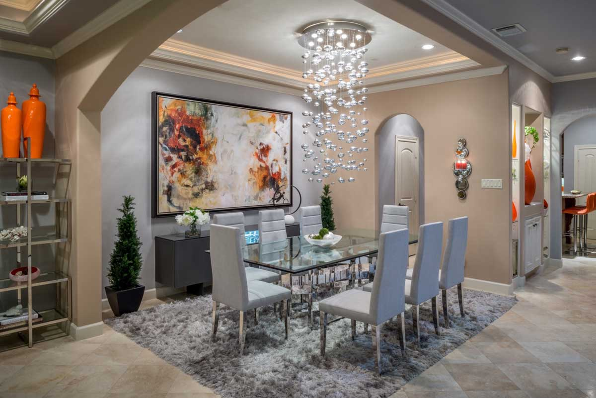 dining room with crystal ball chandelier lighting fixture